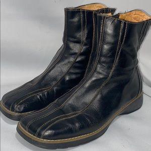 Henry Ferrera Black Leather Zip Up Boots Sz 39 EU